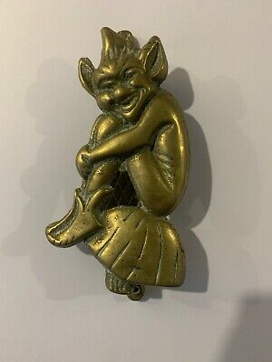1920's Solid Brass Cornish Pixie Door Knocker Sprite Imp Sitting On A Mushroom