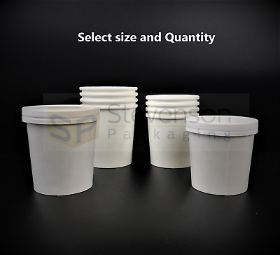 Heavy Duty Soup Containers & Lids Disposable Takeaway Ice Cream Tubs 12oz/16oz
