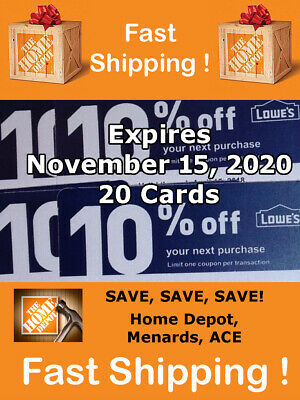 20 Lowes 10% for Home Depot only Exp November 15 2020
