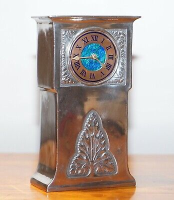 Arts & Crafts Liberty's London Archibald Knox Tudric Mantle Clock Pewter Enamel