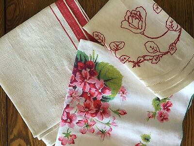 Printed MCM tablecloth, embroidered, table runners, lot of 3, red, pink floral