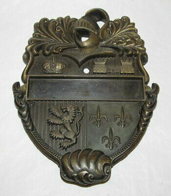 Vintage Door Knocker Brass Knight Helmet Shield Design Crown Lion Castle U.S.A.