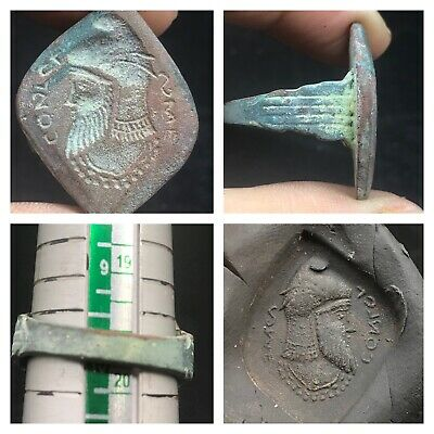 Very Old Sasianin king Face Intaglio Stamp Bronze Byzantine Wonderful Ring
