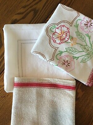 Lot of vintage MCM tablecloth, runners, red, gray, floral, handmade, embroidered