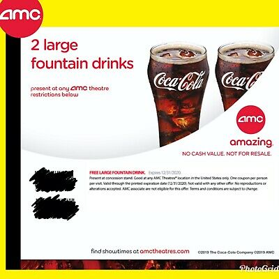 Instant E-Delivery: AMC Theater 2 Large Drink || Exp 12/31/2020