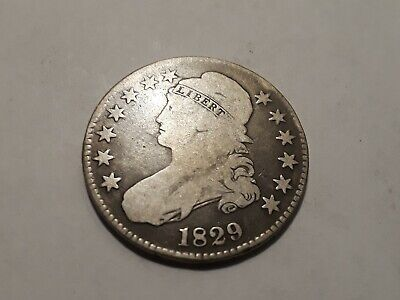 1829 Capped Bust Silver Half Dollar...very Nice Low Grade Toned Coin