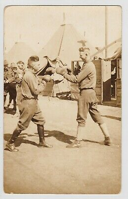 BOXING MATCH, US ARMY SOLDIERS WWI Military Fight Sport RPPC Real Photo Postcard