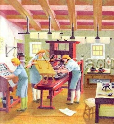 CRAFTS Old Style Printing Press, Whimsical Beautiful 1940s Children's Art Print