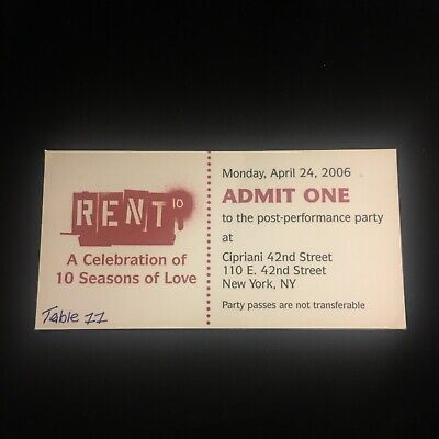 Rare RENT, A Celebration Of 10 Seasons Of Love ! Monday April 24 2006 .