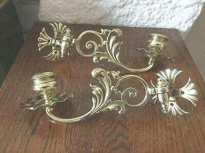A Pair Of Antique Brass Victorian Piano Candle Wall Sconce Holders, Date 1872