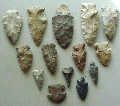Authentic Native American Potawatomi Indian (14)  Arrowheads ,Very~Very Nice