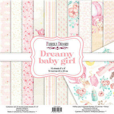 """8"""" x 8"""" scrapbooking paperpad cardstock Dreamy Baby Girl 10 designs x 2 sheets"""