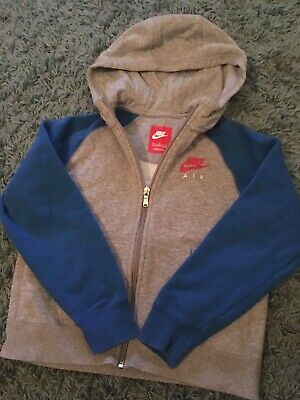 Childs Nike Air Tracksuit Hooded Top Blue And Grey Age 7-8