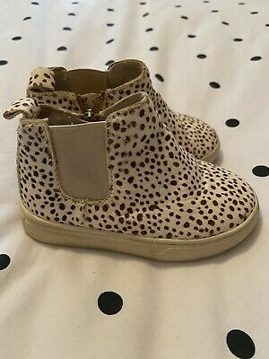 Toddler Girls Animal Print Chelsea Boot With Zips Uk Size 5.5/Euro 22