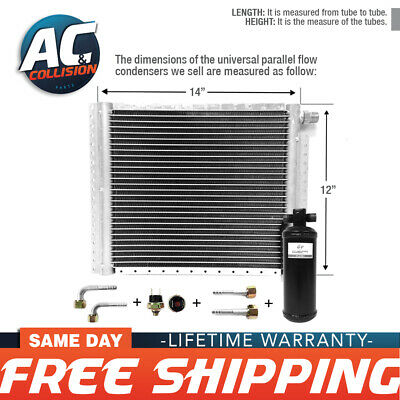 "A//C AC Universal Condenser 14/"" X 25/"" Parallel High Flow O-ring #6 /& #8"