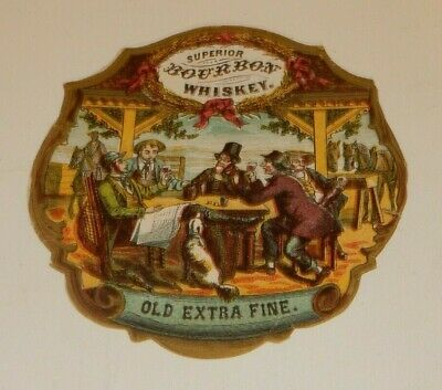Original Paper Label Superior Bourbon Whiskey Old Extra Fine Incredible Detail I