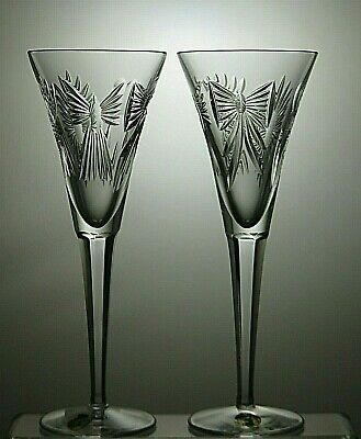 2 - Waterford Crystal Toasting Flutes The Millennium 5 Universal Wishes