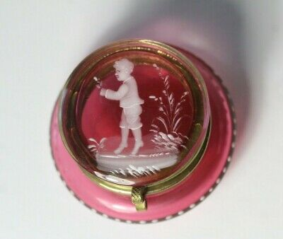 Antique 19thC Victorian Mary Gregory Cranberry Glass Hinged Patch Box
