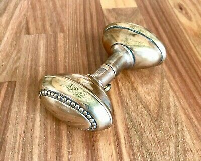 1910 Brass Oval Door Knobs with Spindle Excellent Condiltion