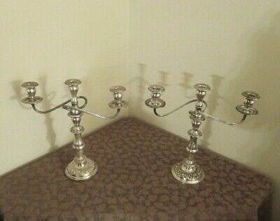 Pair of Sterling Tall Repousse Rose Candelabra by S. Kirk - Heavy - Very Fine