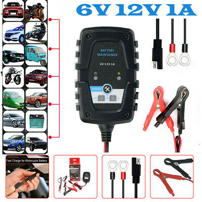 6V 12V 1A Motorcycle Car Intelligent AGM Pulse Repair Battery Charger SAE 4-60AH