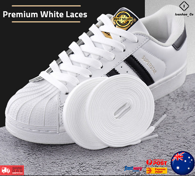 Premium 10mm wide White Shoelaces Flat Shoe Laces Sport Sneakers Unisex AUS