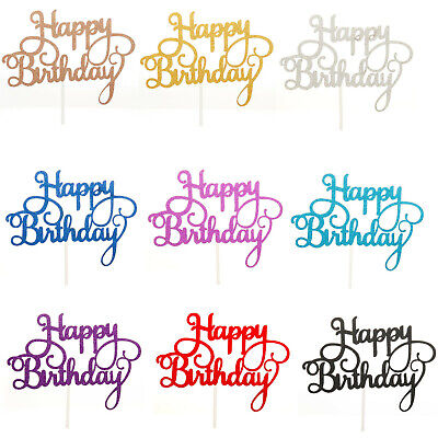 15x NEW HAPPY BIRTHDAY Cake Toppers Glitter Calligraphy Bling Sparkle Decoration