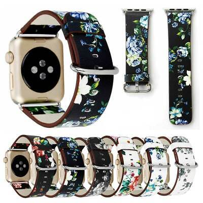 Floral Genuine Leather Band For Apple Watch Series 5 4 3 2 1 38mm 42mm 40mm 44mm