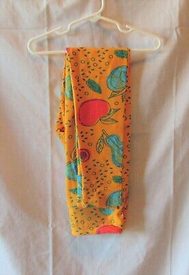 Lularoe Girls Multi Color Fruit Cantaloupe Orange Leggings Sz Tween New