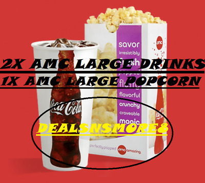 AMC (2X) Large Fountain DRINKs + (1X) POPCORN Vouchers- Expires: 12/31/2020 !
