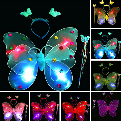 Cute Children Kids Girls Party Costume Butterfly Fairy Wings Wand Headwear Set,