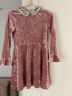 marks and spencer girls dress pink velvet with jewelled collar