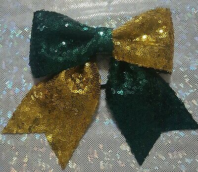 Forest Green and Gold Sequin Hair Bow