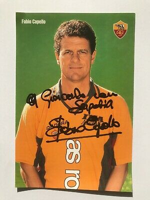 Autografo originale FABIO CAPELLO-Cartolina Ufficiale AS ROMA-Ex-Jiangsu Suning