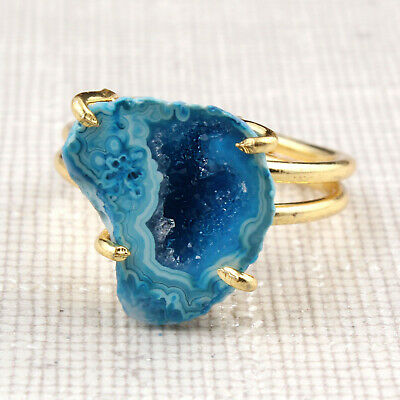 Unique Natural Skyblue Agate Geode Druzy Prong Setting yellow Gold Plated Rings