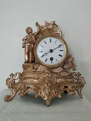 Antique 19th Century French Cast Spelter Mantel Clock with Male Finial