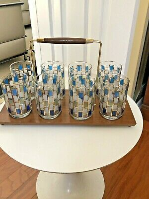 Mid Century TEAK CADDY  /Drinking Glasses Set of 8 Geometric Squares Gold Trim