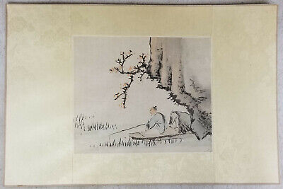 Antique Chinese Republic Scroll Painting Scholar Meditating Unsigned
