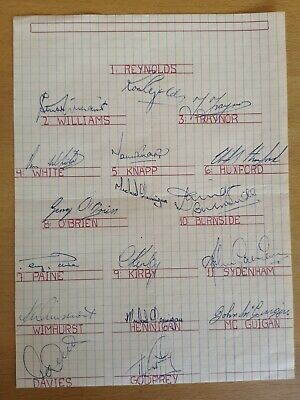 Football: Original autographs of the team of Southampton FC from the season 1963