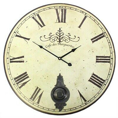 Large Vintage Cream Distressed French Style Wall Clock with Pendulum 58cm