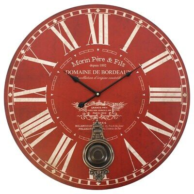 Large Red Morin Pere & Fils Round Wall Clock with Bronze Pendulum Vintage 58cm