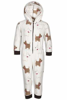 Camille Childrens Soft Fleece Feel Scotty Dog Print All In One