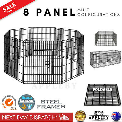 Animal Pen 8 Panel Dog Pet Rabbit Guinea Pig Puppy Outdoor Foldable Fence Play