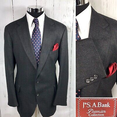 Jos. A. Bank Clothier Collection Wool Sport Coat Blazer Charcoal 46 Long