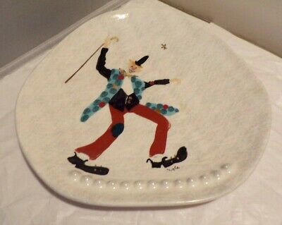 Mid-Century Modern Marc Bellaire Hand Painted California Pottery Clown Design