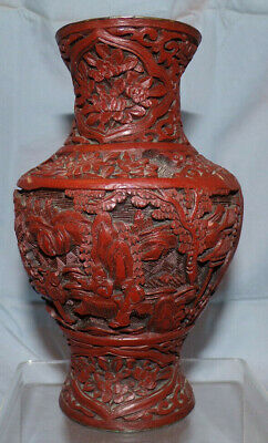"""Antique Chinese Cinnabar Brownish Red Lacquer 6 1/2"""" Vase w/ Black Core"""