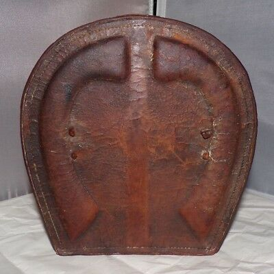 Antique Rancher's Collar Leather Box w/ Horseshoe Motif