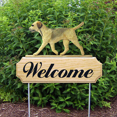 Border Terrier Wood Welcome Outdoor Sign Tan/Wheaten