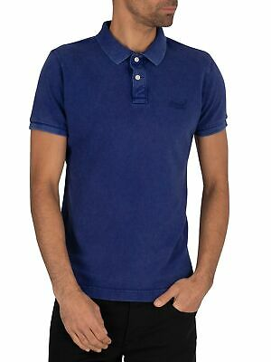 Superdry Men's Vintage Destroyed Pique Polo Shirt, Blue