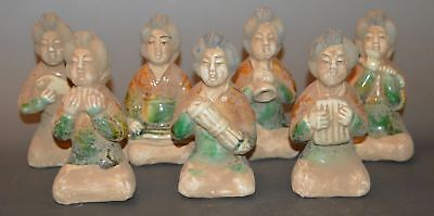 Set China Old Clay Burn Glaze Pottery Tomb Burial Maid Musician Play Statue